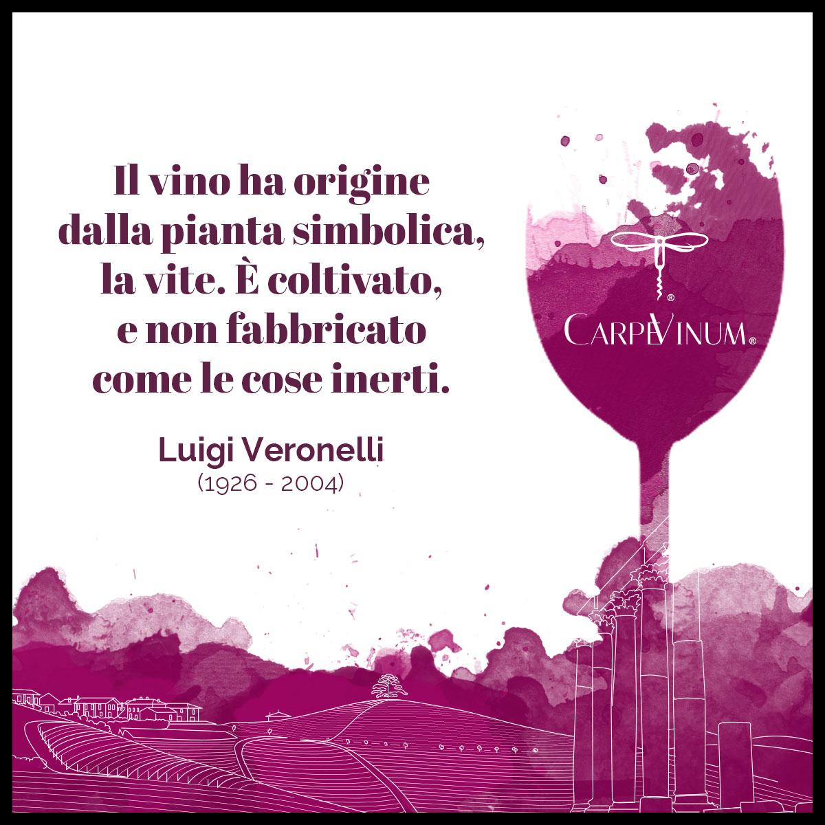 citazione Luigi Veronelli - il vino ha origine da una pianta simbolica, la vite.